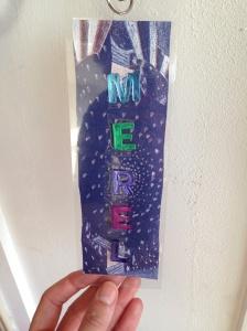 Naamkaartje bij de deur van mijn slaapkamer