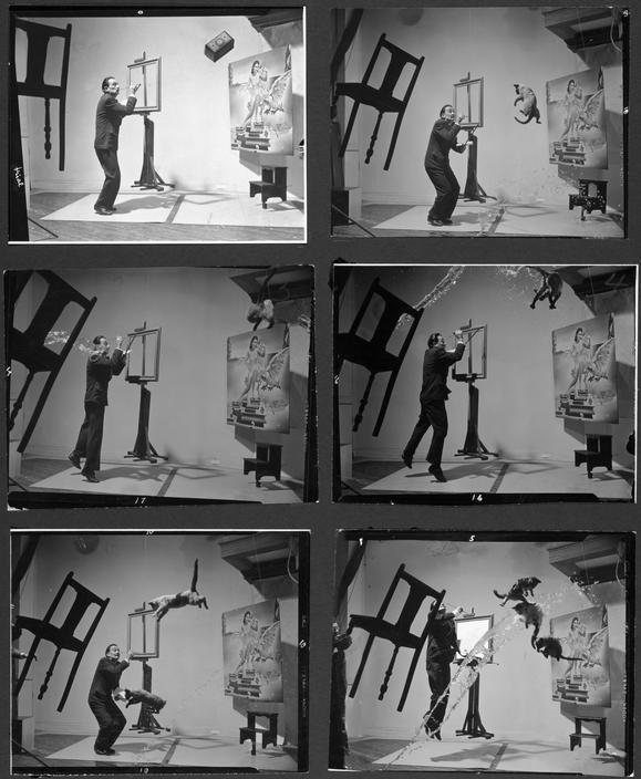 "©Philippe Halsman/Magnum Photos USA, 1948. Salvador DALI, Spanish painter. ""Dali Atomicus"" variants."